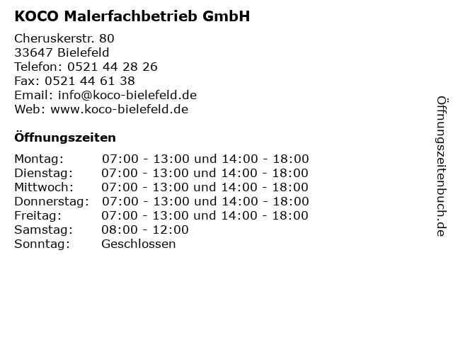 KOCO Malerfachbetrieb GmbH in Bielefeld: Adresse und Öffnungszeiten