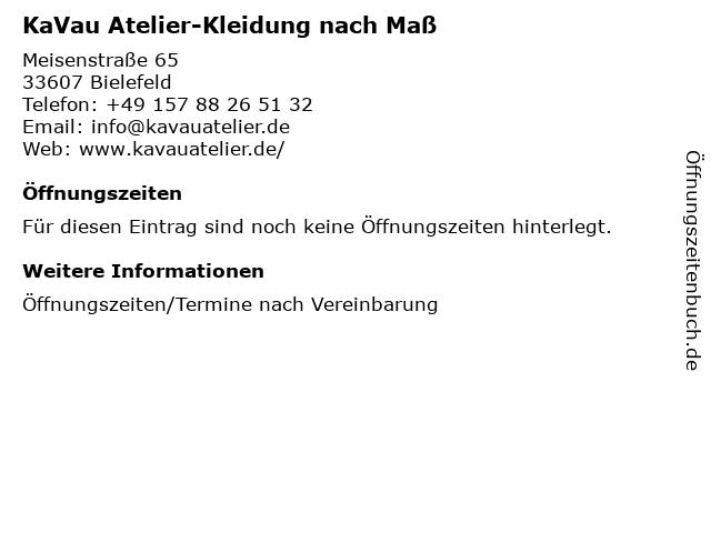 ᐅ öffnungszeiten Kavau Atelier Kleidung Nach Maß Meisenstraße