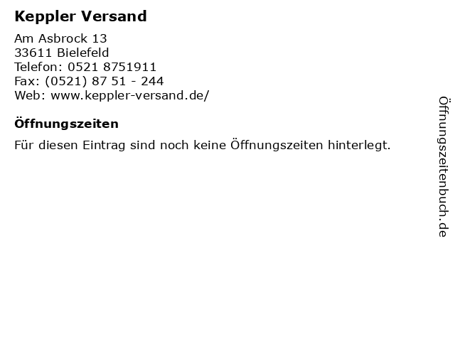 Keppler Versand in Bielefeld: Adresse und Öffnungszeiten