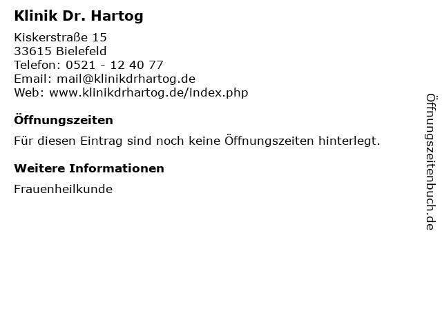 Klinik Dr. Hartog in Bielefeld: Adresse und Öffnungszeiten