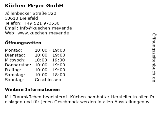 ᐅ Offnungszeiten Kuchen Meyer Gmbh Jollenbecker Strasse 320 In Bielefeld