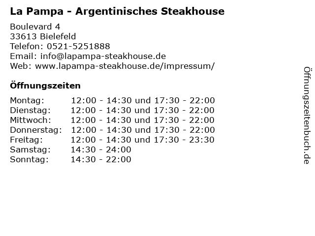 La Pampa - Argentinisches Steakhouse in Bielefeld: Adresse und Öffnungszeiten