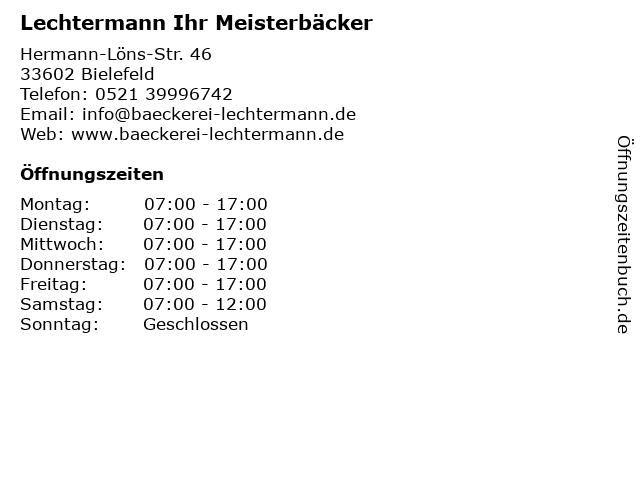 Lechtermann Ihr Meisterbäcker in Bielefeld: Adresse und Öffnungszeiten