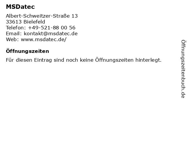 MSDatec in Bielefeld: Adresse und Öffnungszeiten