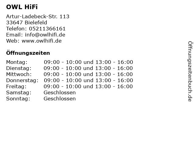 OWL HiFi in Bielefeld: Adresse und Öffnungszeiten