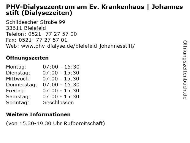 PHV-Dialysezentrum am Ev. Krankenhaus | Johannesstift (Dialysezeiten) in Bielefeld: Adresse und Öffnungszeiten