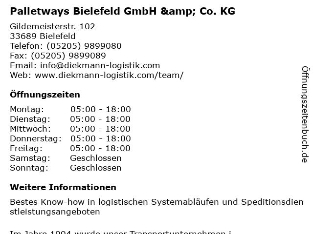 Palletways Bielefeld GmbH & Co. KG in Bielefeld: Adresse und Öffnungszeiten