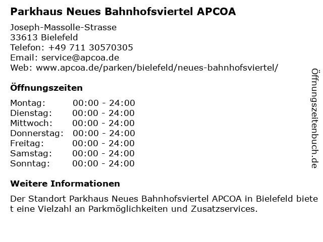 Parkhaus Neues Bahnhofsviertel in Bielefeld: Adresse und Öffnungszeiten