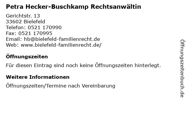 Petra Hecker-Buschkamp Rechtsanwältin in Bielefeld: Adresse und Öffnungszeiten