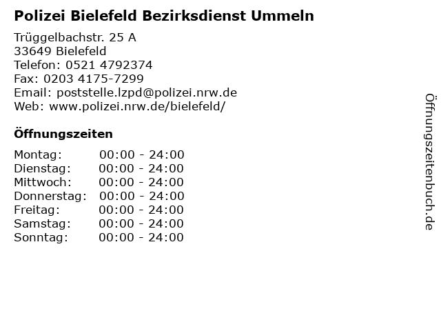 Polizei Bielefeld Bezirksdienst Ummeln in Bielefeld: Adresse und Öffnungszeiten
