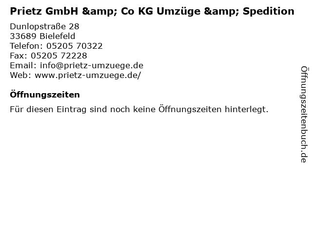 Prietz GmbH & Co. KG Umzüge und Möbeltransporte in Bielefeld: Adresse und Öffnungszeiten