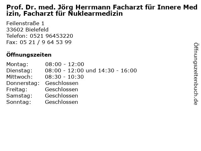 Prof. Dr. med. Jörg Herrmann Facharzt für Innere Medizin, Facharzt für Nuklearmedizin in Bielefeld: Adresse und Öffnungszeiten