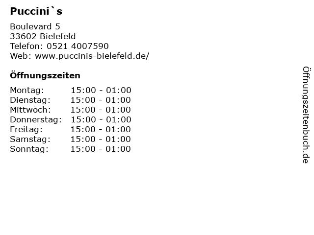 Puccini`s in Bielefeld: Adresse und Öffnungszeiten