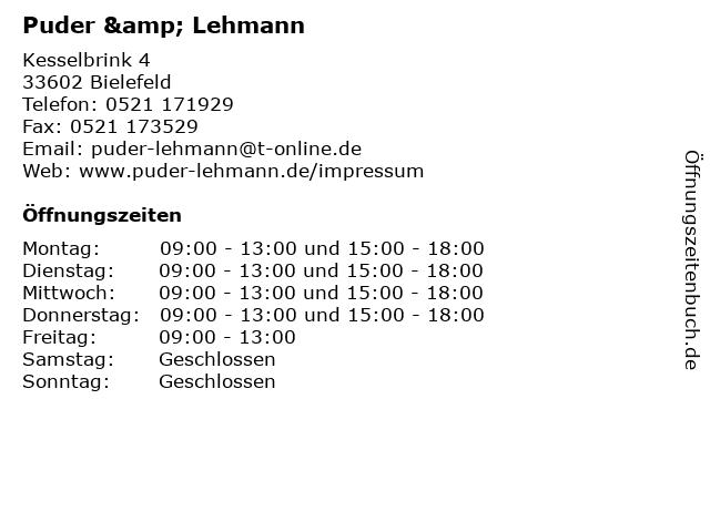 Puder & Lehmann in Bielefeld: Adresse und Öffnungszeiten