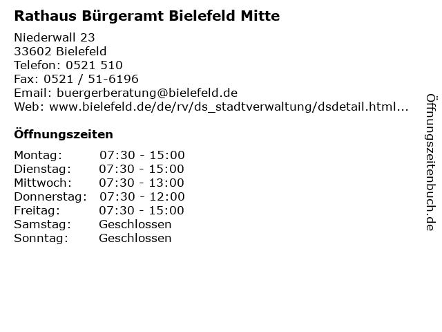 Rathaus Bürgeramt Bielefeld Mitte in Bielefeld: Adresse und Öffnungszeiten
