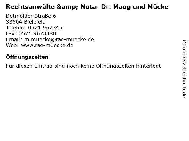 Rechtsanwälte & Notar Dr. Maug und Mücke in Bielefeld: Adresse und Öffnungszeiten