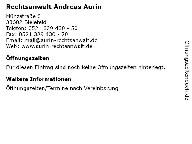 Rechtsanwalt Andreas Aurin in Bielefeld: Adresse und Öffnungszeiten