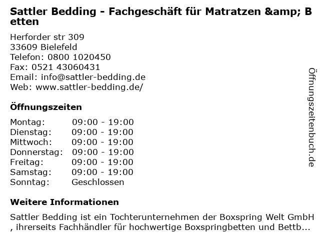 Sattler Bedding - Fachgeschäft für Matratzen & Betten in Bielefeld: Adresse und Öffnungszeiten