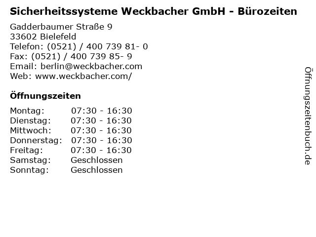 Sicherheitssysteme Weckbacher GmbH - Bürozeiten in Bielefeld: Adresse und Öffnungszeiten