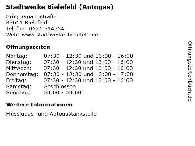 Stadtwerke Bielefeld (Autogas) in Bielefeld: Adresse und Öffnungszeiten