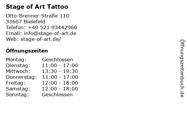 Stage of Art Tattoo in Bielefeld: Adresse und Öffnungszeiten