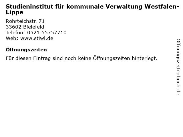 Studieninstitut für kommunale Verwaltung Westfalen-Lippe in Bielefeld: Adresse und Öffnungszeiten