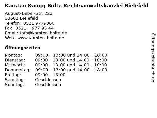 Sven Karsten Rechtsanwalt in Bielefeld: Adresse und Öffnungszeiten
