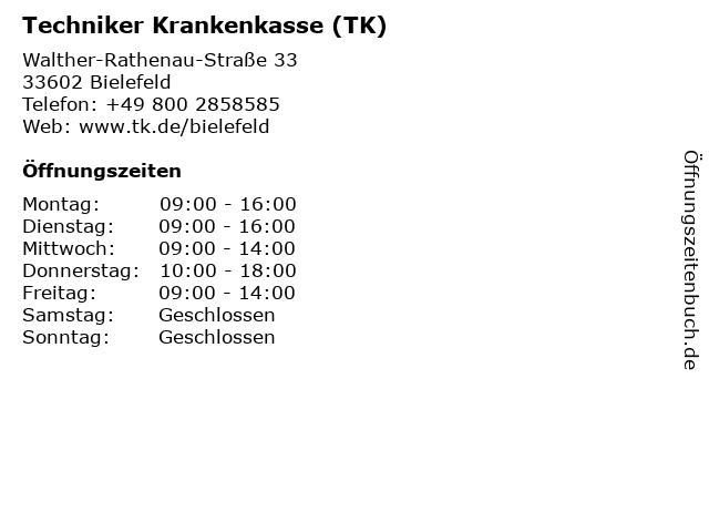 Á… Offnungszeiten Techniker Krankenkasse Tk Walther Rathenau Strasse 33 In Bielefeld