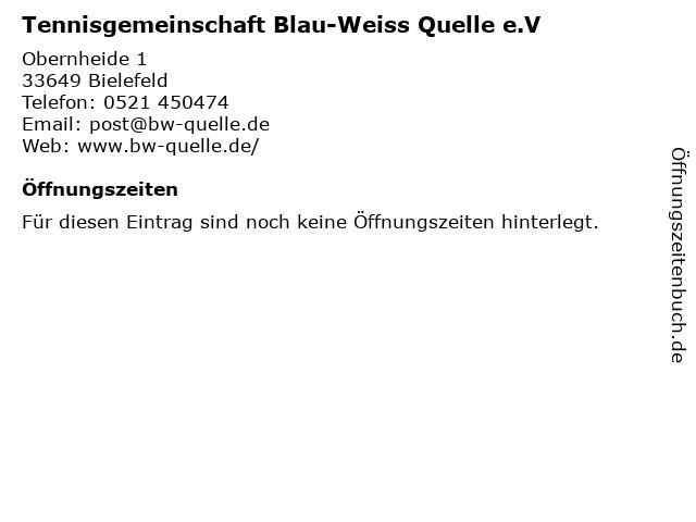 Tennisgemeinschaft Blau-Weiss Quelle e.V in Bielefeld: Adresse und Öffnungszeiten
