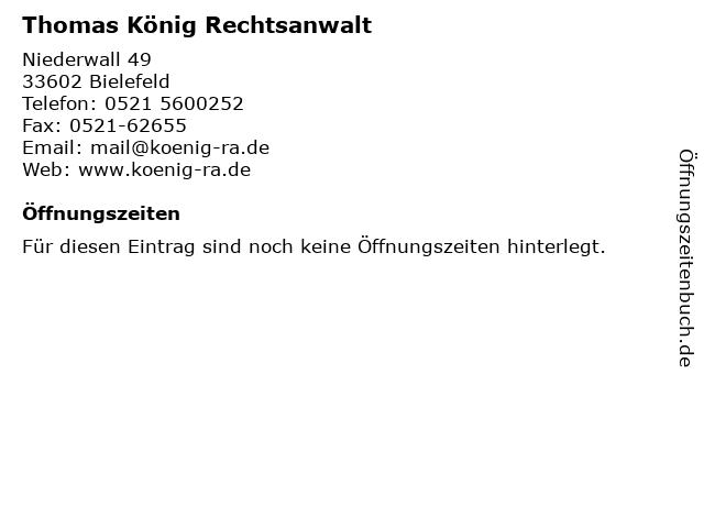 Thomas König Rechtsanwalt in Bielefeld: Adresse und Öffnungszeiten