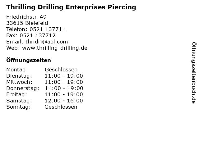 Thrilling Drilling Enterprises Piercing in Bielefeld: Adresse und Öffnungszeiten