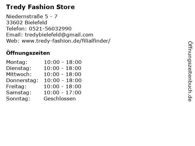Tredy Fashion Store in Bielefeld: Adresse und Öffnungszeiten