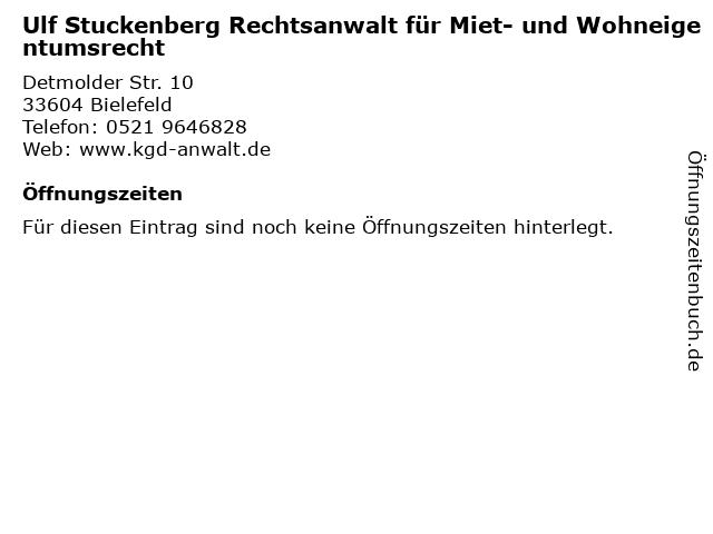 Ulf Stuckenberg Rechtsanwalt für Miet- und Wohneigentumsrecht in Bielefeld: Adresse und Öffnungszeiten