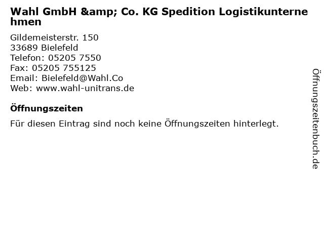 Wahl GmbH & Co. KG Spedition Logistikunternehmen in Bielefeld: Adresse und Öffnungszeiten