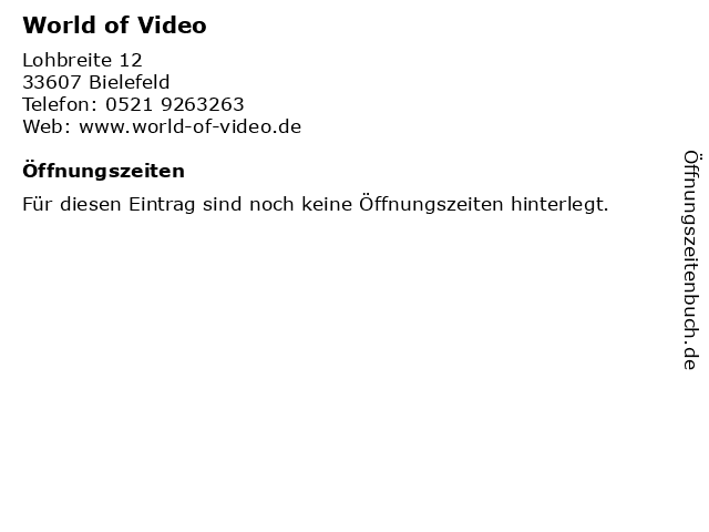 World of Video in Bielefeld: Adresse und Öffnungszeiten