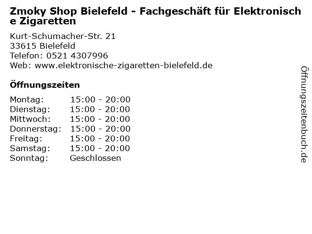 Zmoky Shop Bielefeld - Fachgeschäft für Elektronische Zigaretten in Bielefeld: Adresse und Öffnungszeiten
