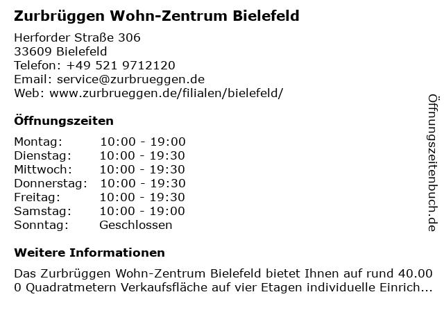 ᐅ öffnungszeiten Zurbrüggen Wohn Zentrum Bielefeld Herforder