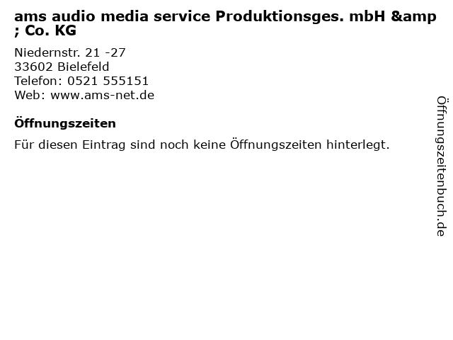 ams audio media service Produktionsges. mbH & Co. KG in Bielefeld: Adresse und Öffnungszeiten
