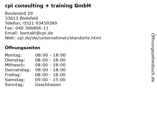 cpi consulting + training GmbH in Bielefeld: Adresse und Öffnungszeiten