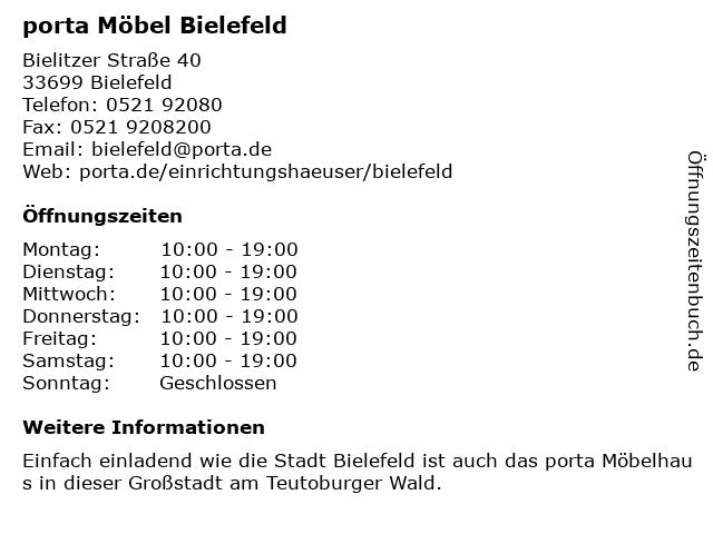 ᐅ öffnungszeiten Porta Möbel Bielitzer Straße 40 In Bielefeld