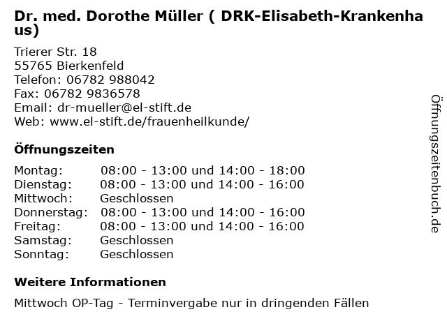 Dr. med. Dorothe Müller ( DRK-Elisabeth-Krankenhaus) in Bierkenfeld: Adresse und Öffnungszeiten