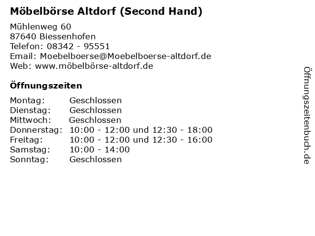 ᐅ öffnungszeiten Möbelbörse Altdorf Second Hand Mühlenweg 60