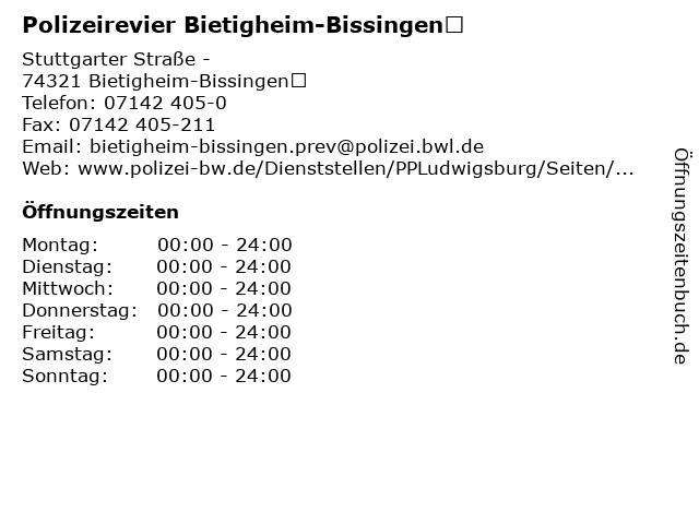 Polizeirevier Bietigheim-Bissingen in Bietigheim-Bissingen: Adresse und Öffnungszeiten