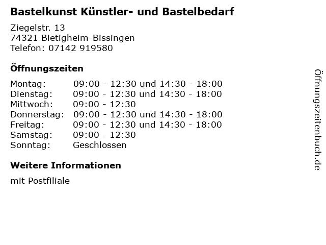 Bastelkunst Künstler- und Bastelbedarf in Bietigheim-Bissingen: Adresse und Öffnungszeiten