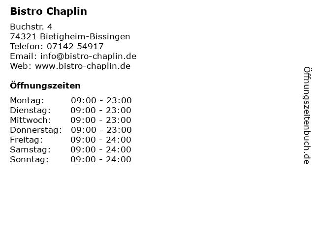 Bistro Chaplin in Bietigheim-Bissingen: Adresse und Öffnungszeiten