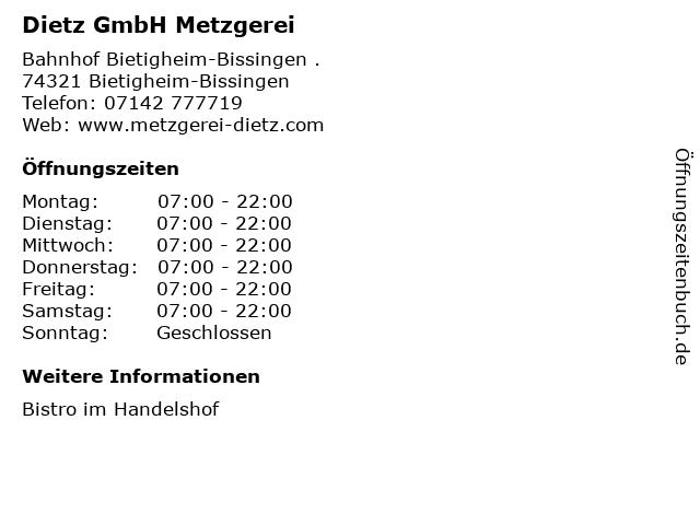 Dietz GmbH Metzgerei in Bietigheim-Bissingen: Adresse und Öffnungszeiten