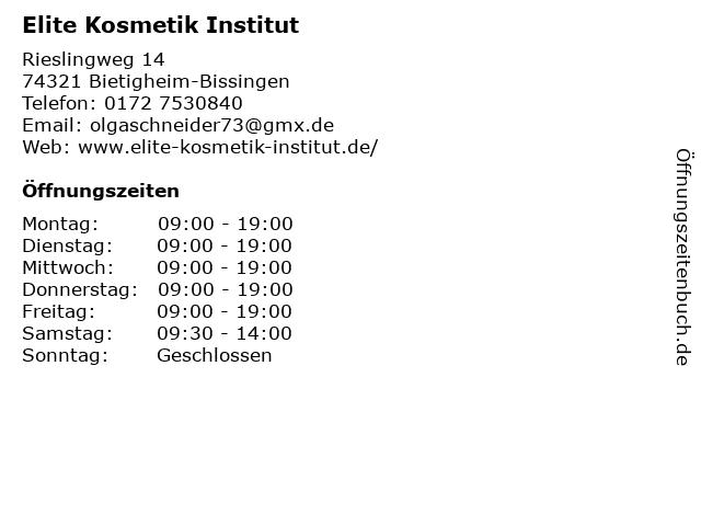Elite Kosmetik Institut in Bietigheim-Bissingen: Adresse und Öffnungszeiten