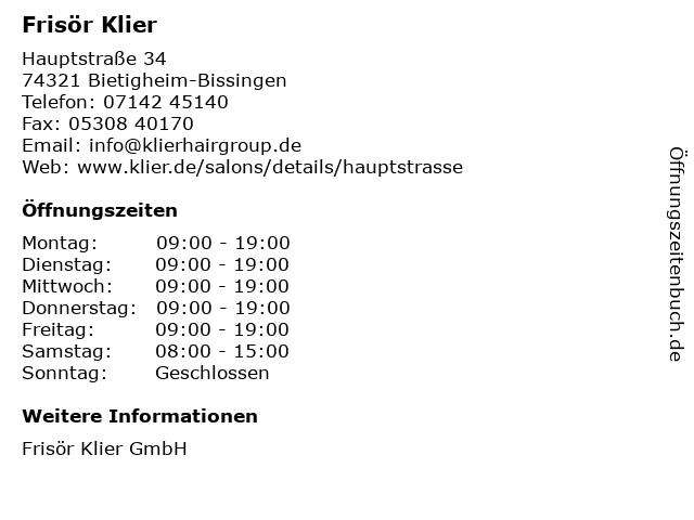 Frisör Klier in Bietigheim-Bissingen: Adresse und Öffnungszeiten