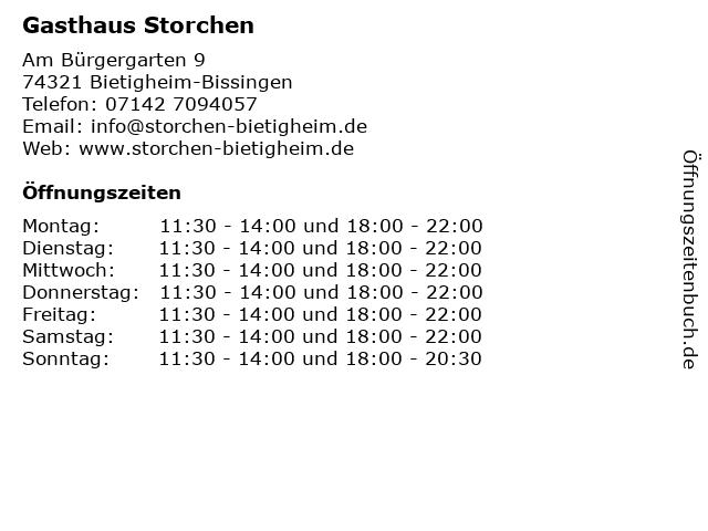 Gasthaus Storchen in Bietigheim-Bissingen: Adresse und Öffnungszeiten