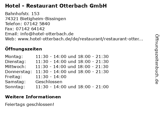 Hotel - Restaurant Otterbach GmbH in Bietigheim-Bissingen: Adresse und Öffnungszeiten